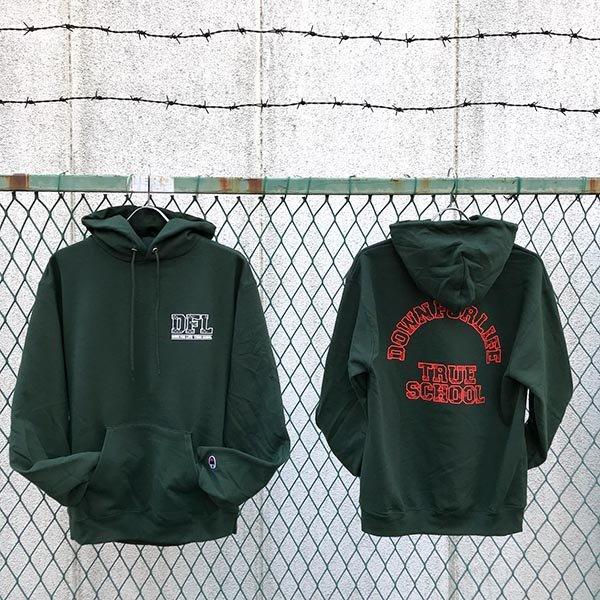 画像1: DOWN FOR LIFE CLOTHING - True School フードパーカー 深緑